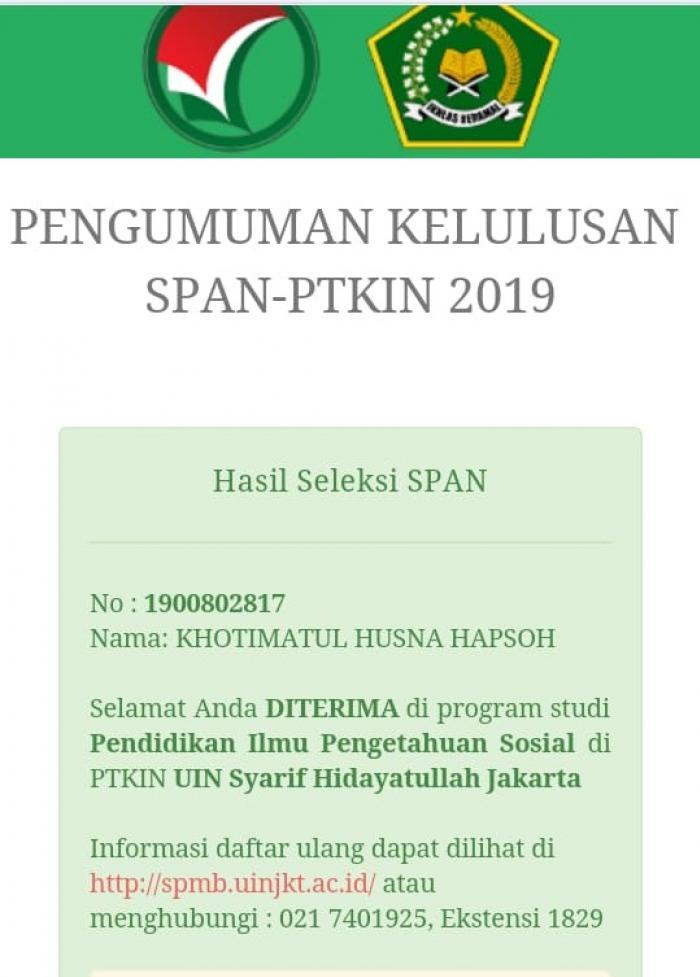 Siswa MAN 2 Merangin berhasil Lulus SPAN-PTKIN di UIN Syarif Hidayatullah Jakarta